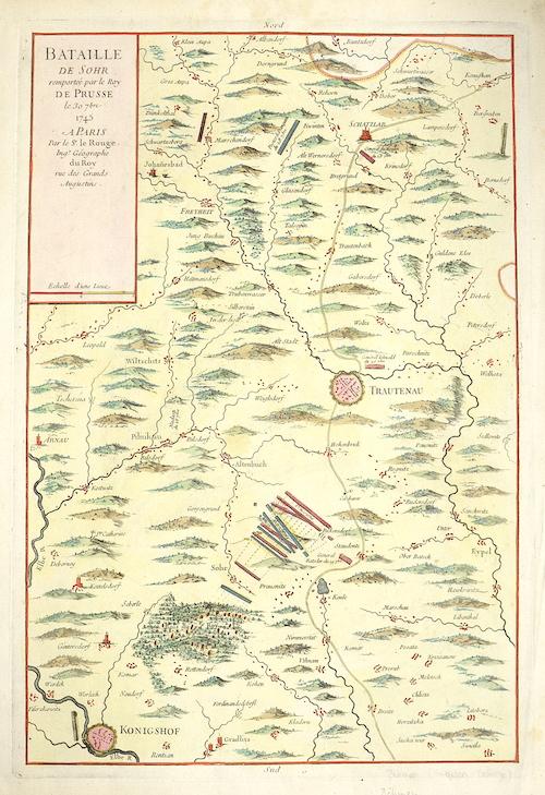 Le Rouge Georges Louis Bataille de Sohr remprtee par le Roy de Prusse le 30  7 bre 1745 a Paris