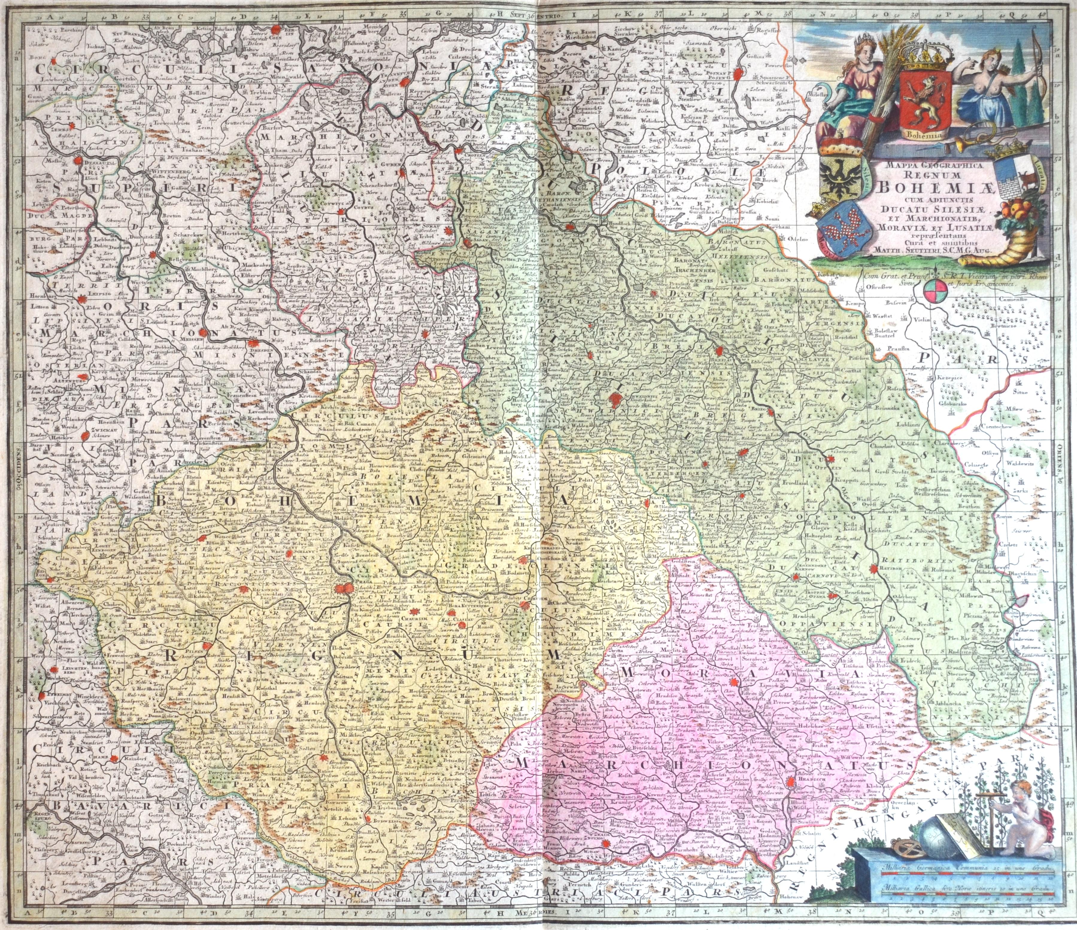 Seutter  Mappa Geographica regnum Bohemiae cum