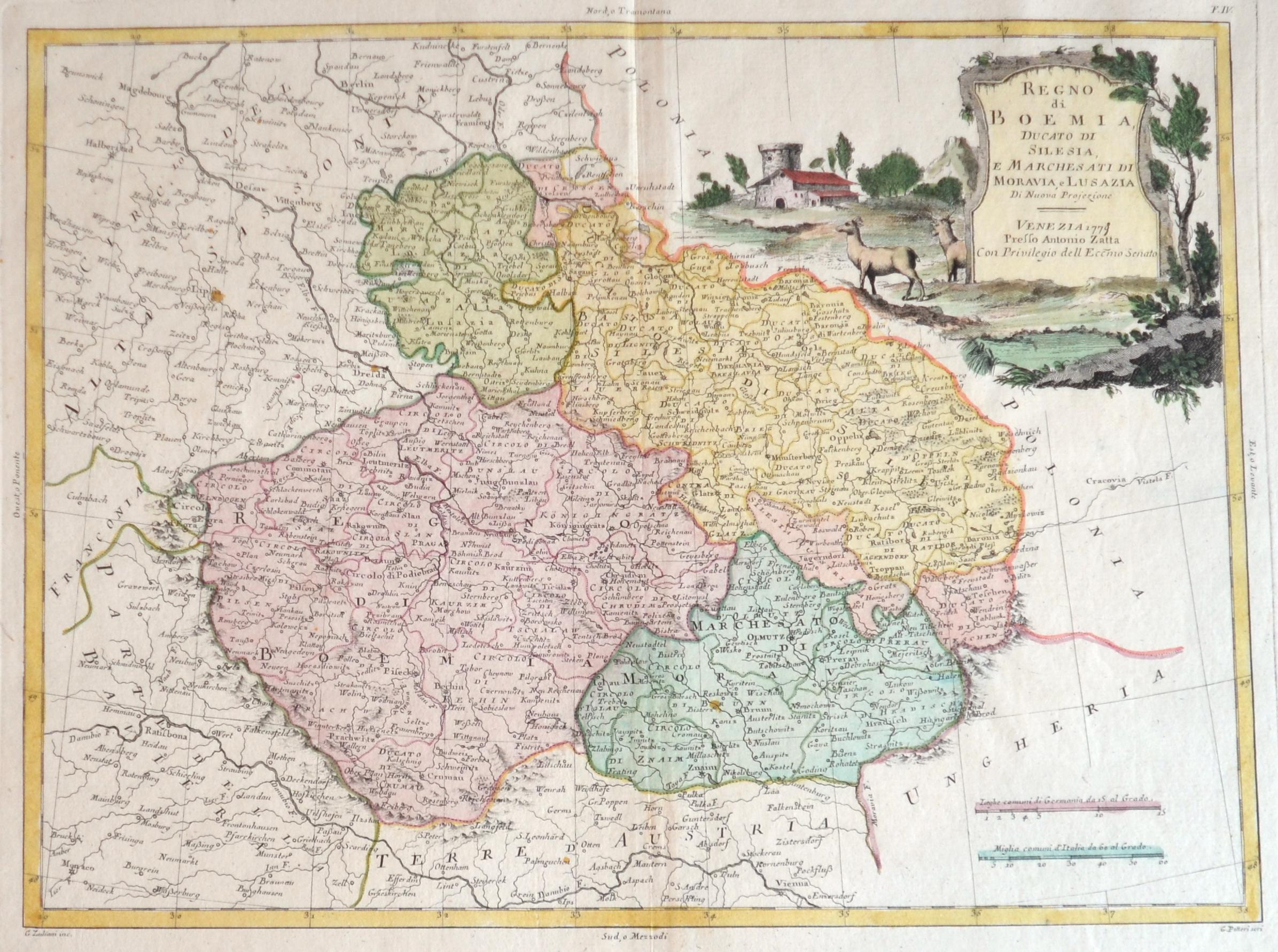 Zatta  Regno di Boemia, Ducato di Silesia, e marches ati di Moravia, e Lusazia.