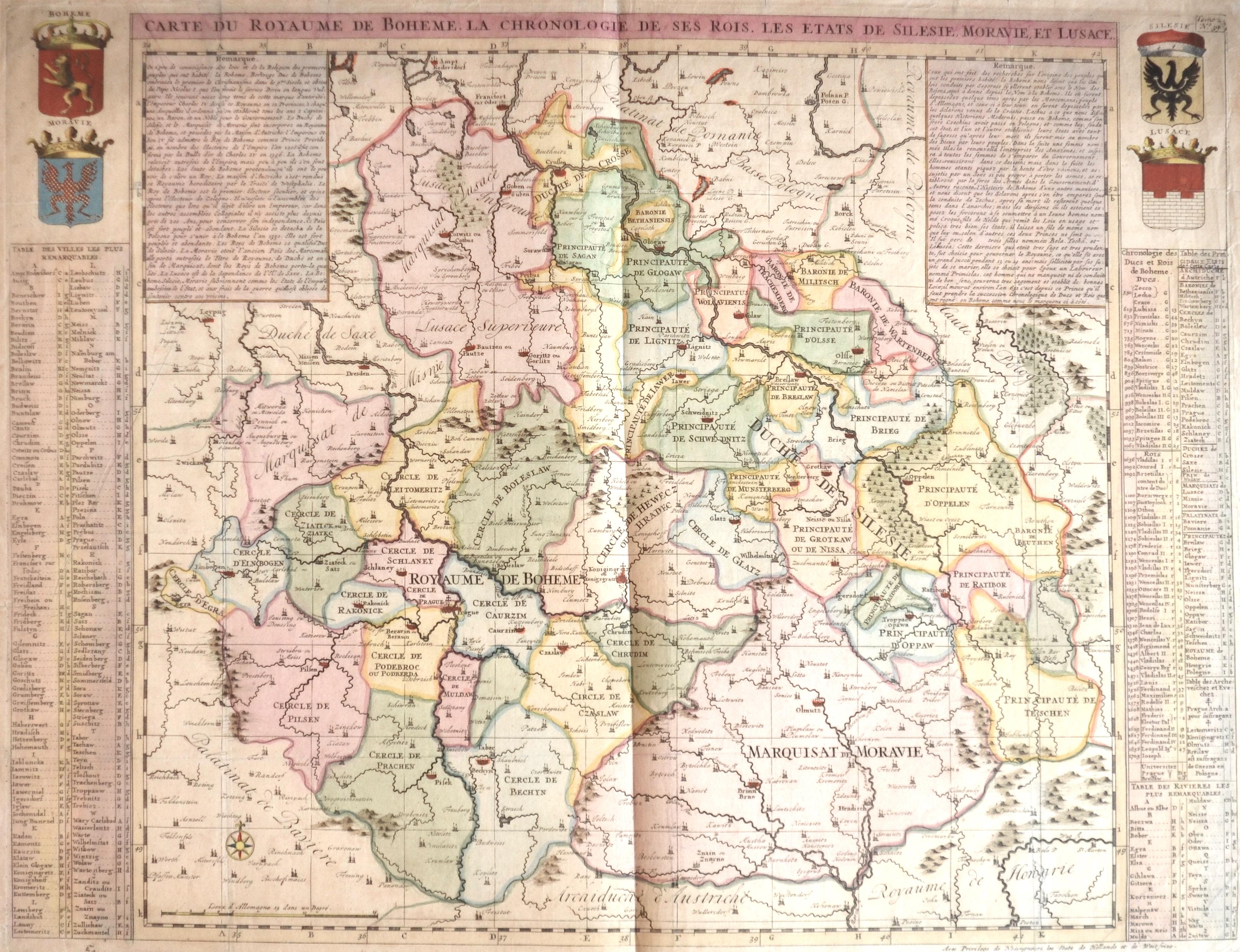 Chatelain  Carte du royaume de Boheme. La chronologie de ses rois. Les états de Silesie, Moravie et Lusace.