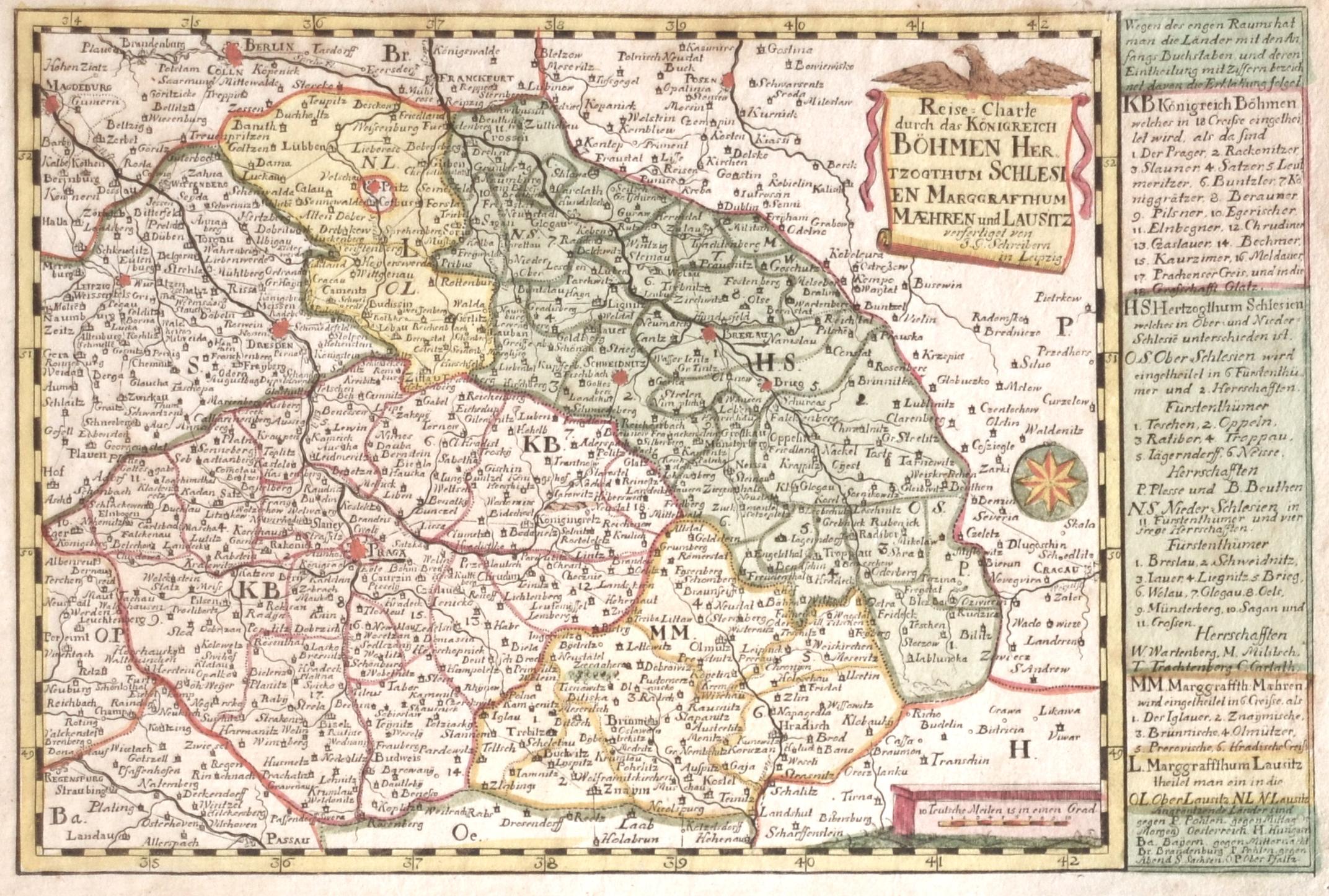 Schreiber  Reise-Carte durch das Königreich Böhmen Herzogthum Schlesien Marggrafthum Maehren und Lausitz