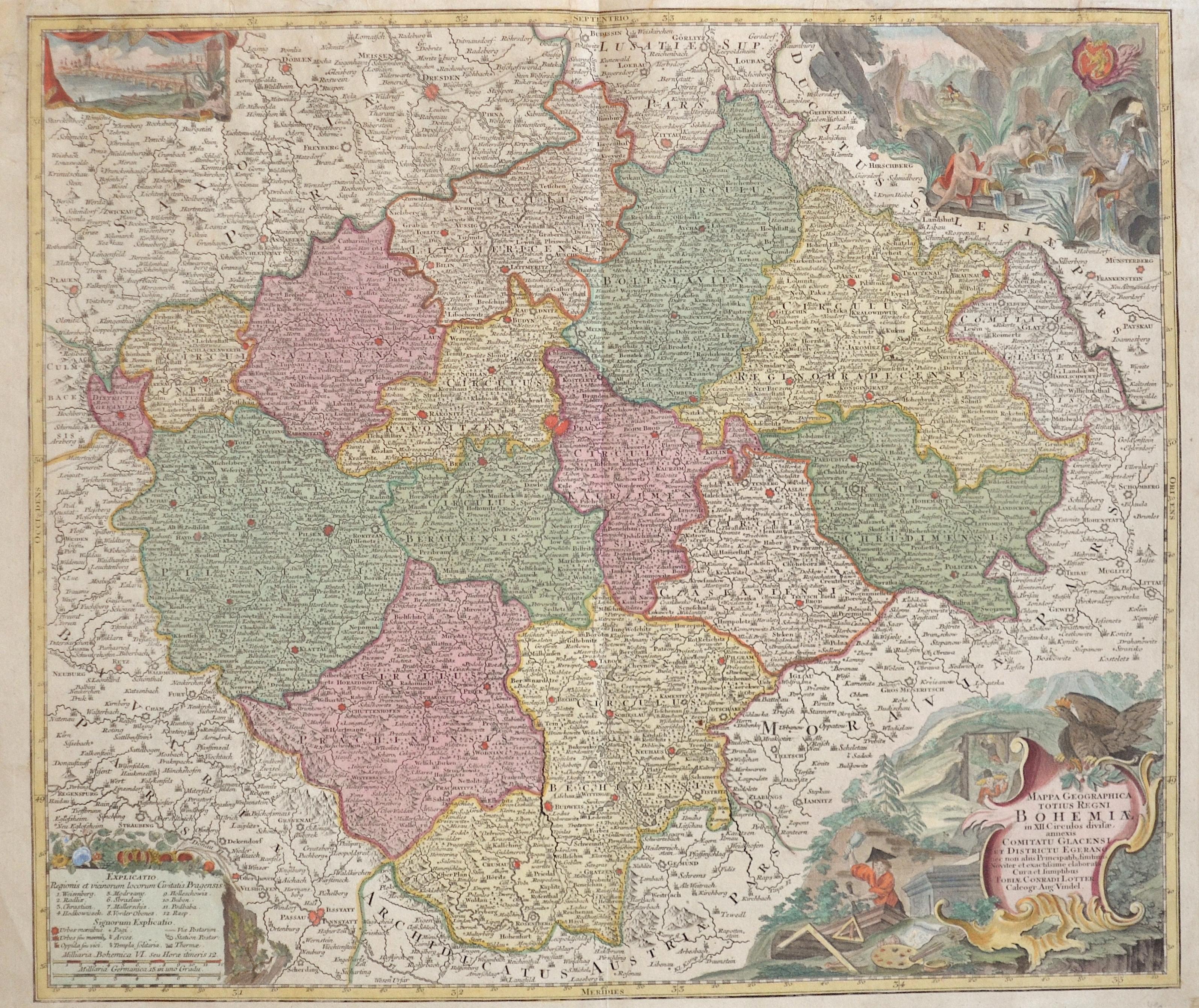Lotter  Mappa Geographica totius Regni Bohemiae in XII. Circulos divisae, annexis Comitatu Glacensi et Districtu Egerano..