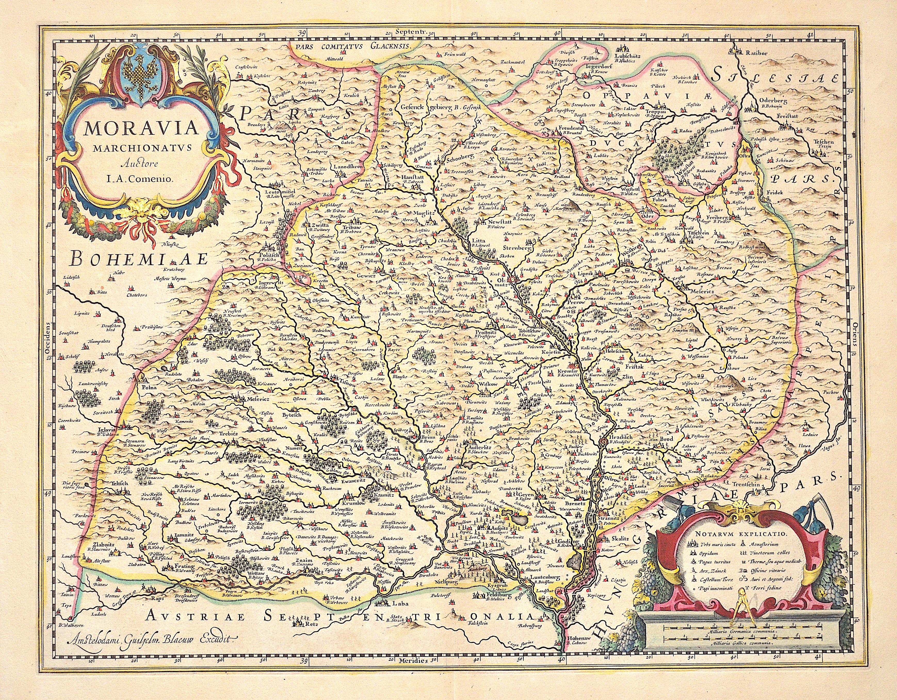 Blaeu Willem Janszoon Moravia Marchionatus Auctore I. A. Comenio.