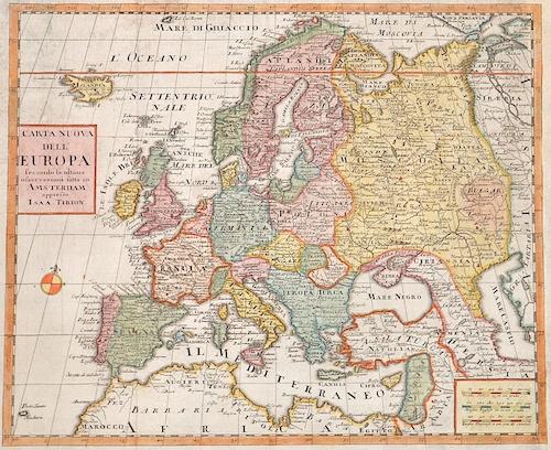 Tirion Isaak Carta Nuova Dell Europa secondo, Le ultime ofservazioni fatta in Amsterdam