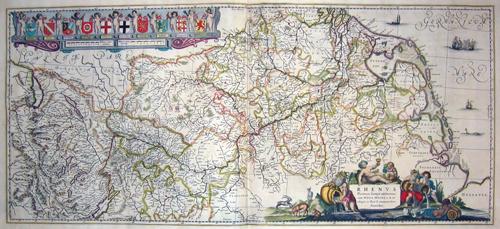 Blaeu Willem Janszoon Rhenus Fluviorum Europae celeberrimus, cum Mosa, Mosella, et reliquis, in illum se exonarantibus fluminibus