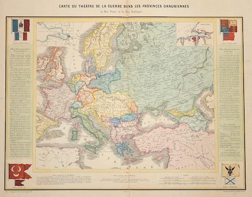 Langlume J. Carte du Theatre de la guerre dans les Provinces Danubiennes la Mer Noir et la Mer Baltique