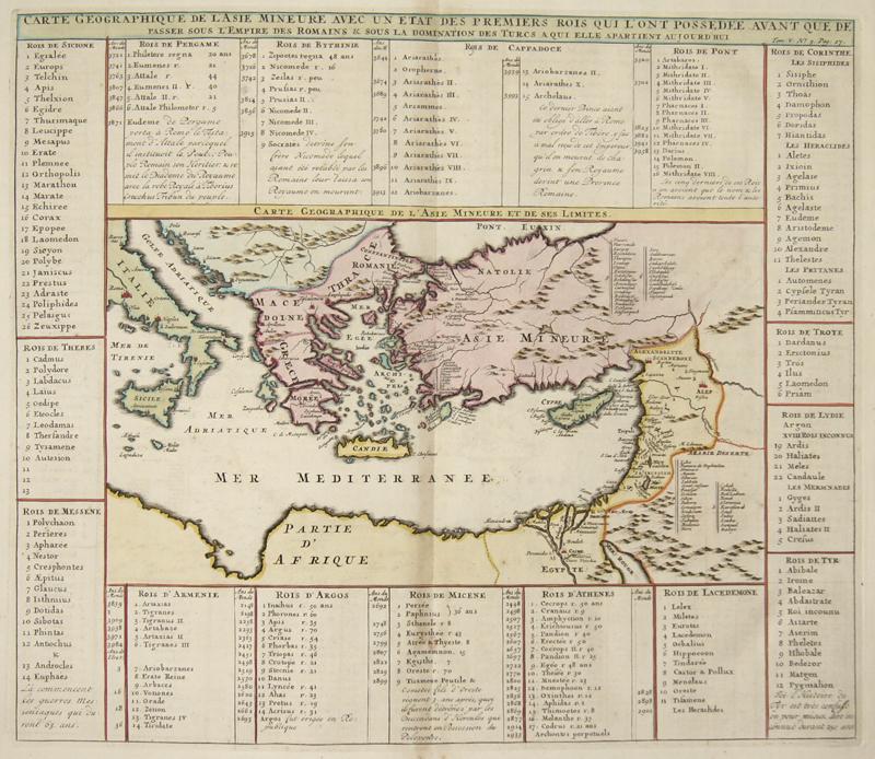 Chatelain  Carte Geographique de l'Asie Mineure avec un etat des Premiers rois qui l' ont Possedee Avant que de ..