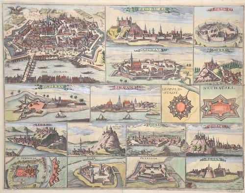 Anonymus  Die Stadt Wien/ Pressburg/ Guntz/Caschau/ Neytrra/Comorra/Raab/Leopold-Stadt/Neuhäusel/Gran/Plindenburg/Waizen/Villeck/Serniwar/Sisek/Petrinai/Lewenz