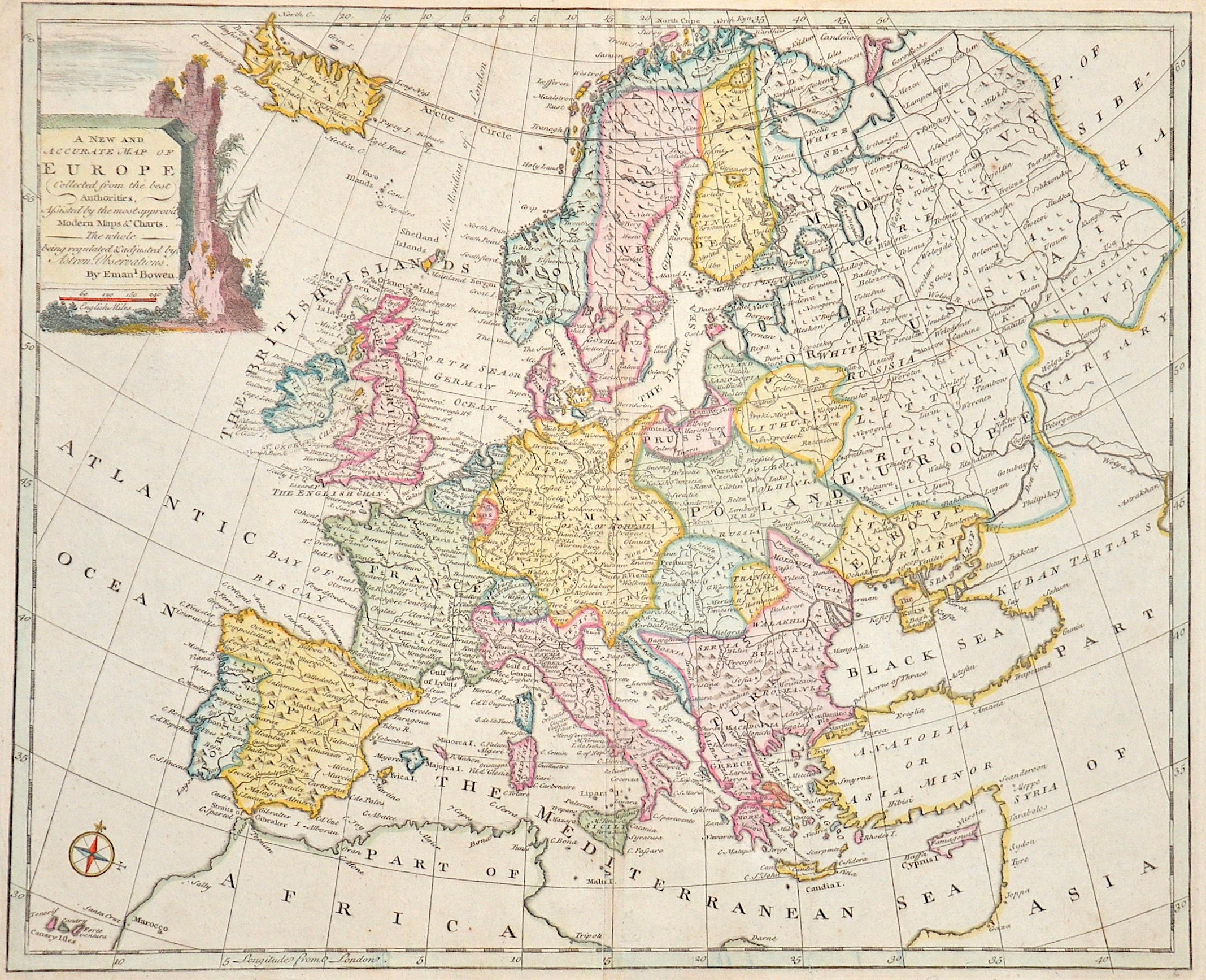Bowen  A new and accurate map of Europe. Collected from the best Authorities,..