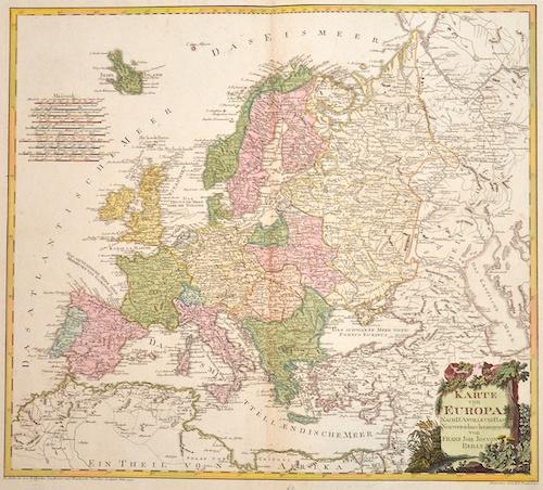 Reilly Franz Johann Joseph Karte von Europa nach d'Anville und Has