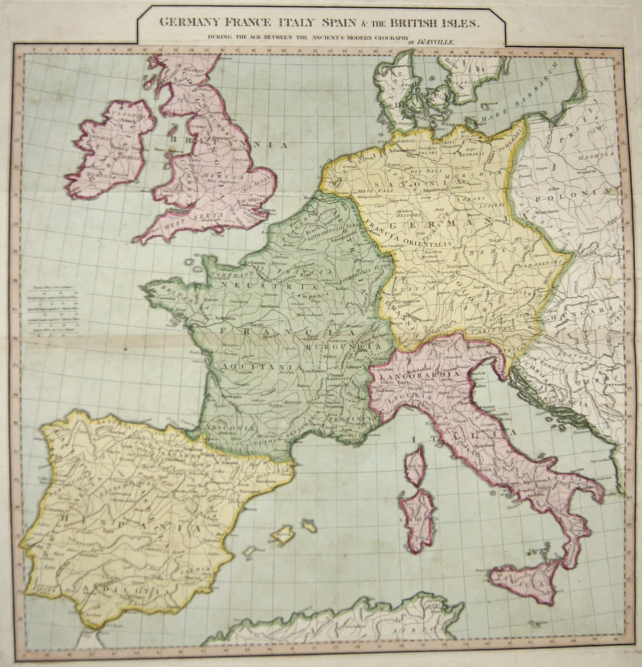 Anville´d Jean Babtiste Germany France Italy Spain & the British Isles.