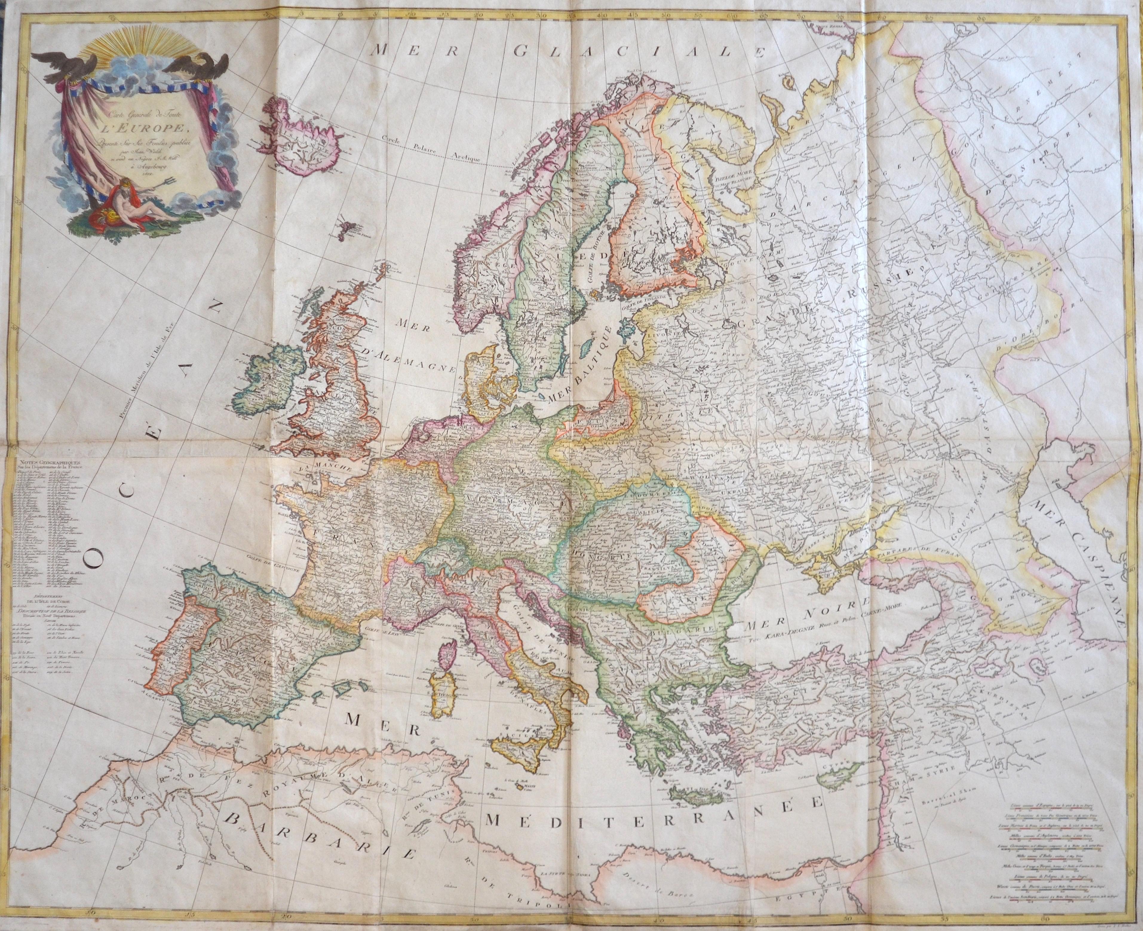 Walch Johann Carte generale de Toute L´Europe. Presenté sur 6 Feuilies publicé par Jean Walch se vend au Negoec F.M Will à Augsbourg 1812