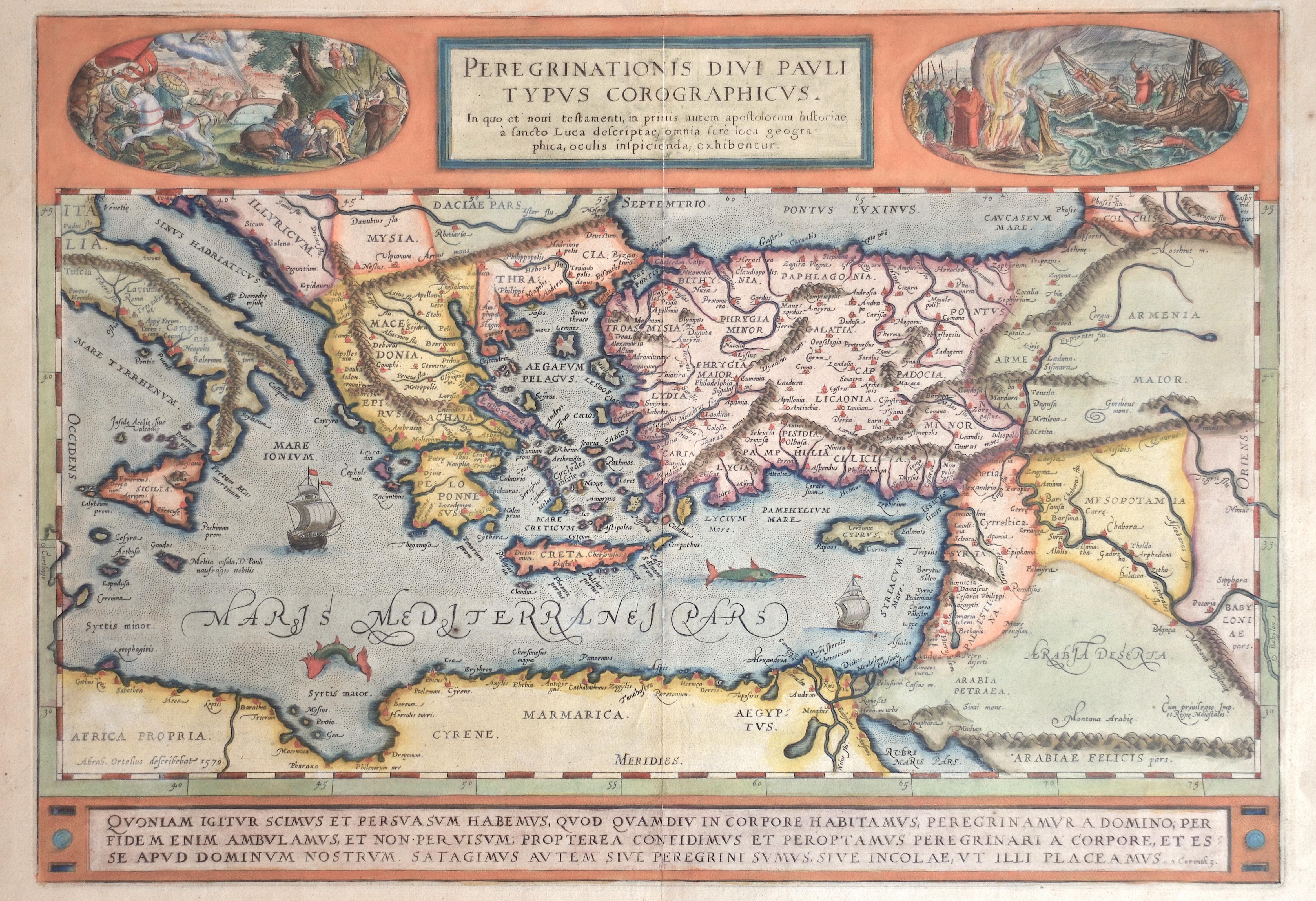 Ortelius Abraham Peregrinationis divi Pauli typus Corographicus.