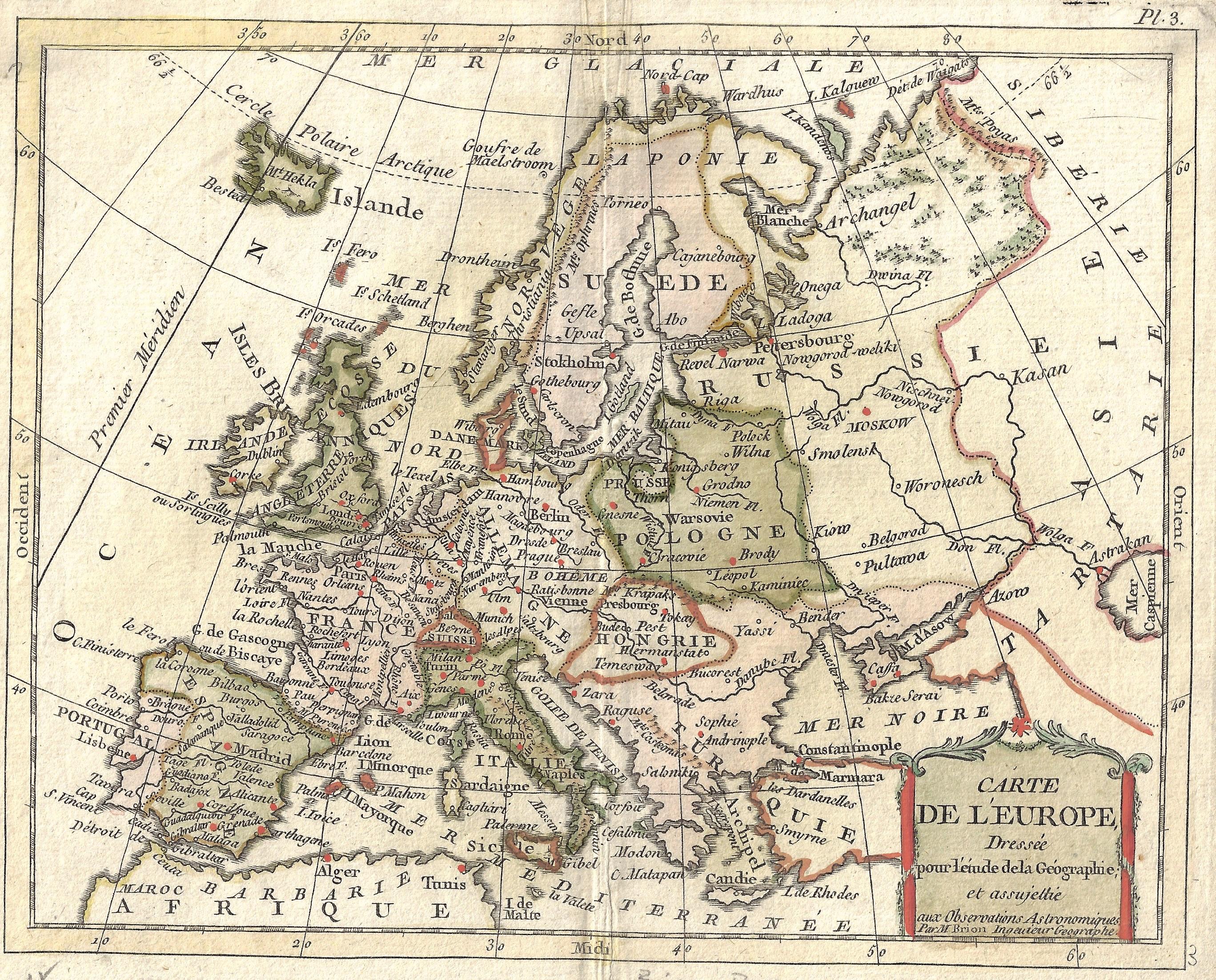 Brion de la Tour Louis Carte de l'Europe, Dressée pour l'eiude de la Géographie