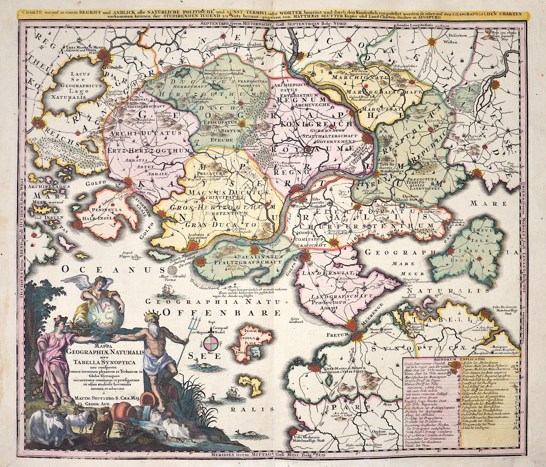 Seutter  Mappa Geographiae Naturalis sive Tabella Synoptica uno conspectu..