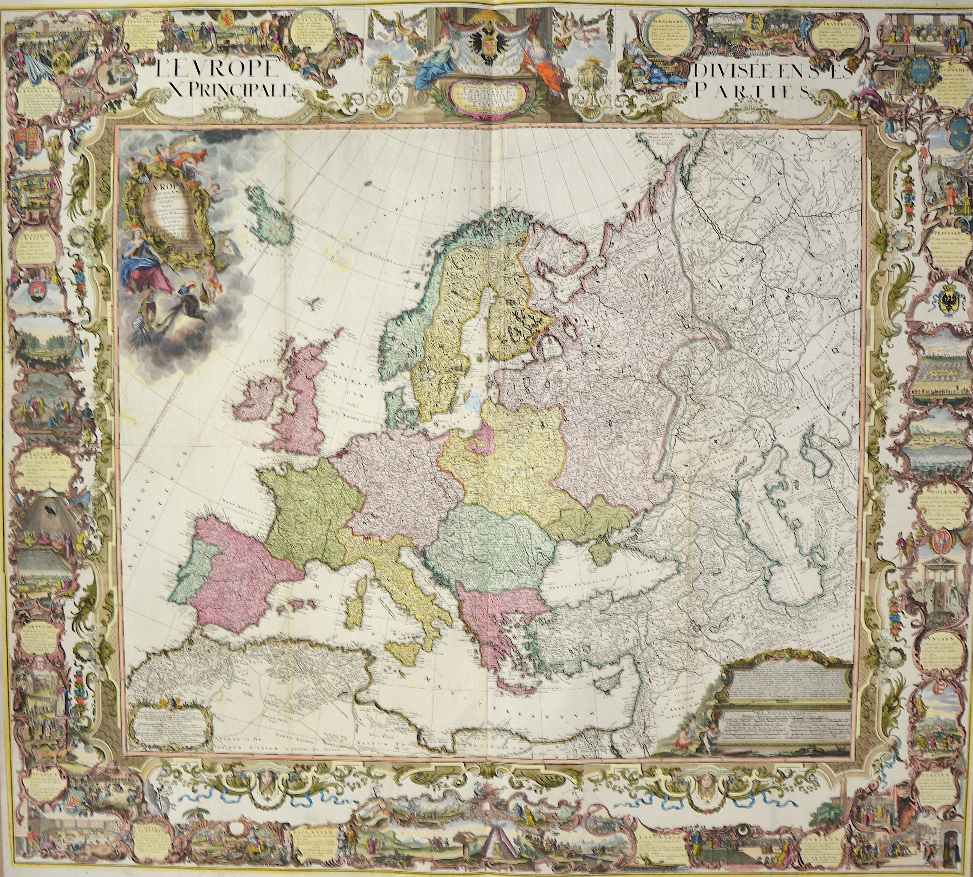 Homann Erben  Europa in pertes suas X methodicas a primariis regnis denominatas divisa…et exhibita projectionis Stereographicae leges.