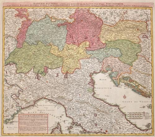 Homann  Danubii fluminis pars superior in qua Suevia , Bavaria, Austria, Stiria, Carinthia, Carniola, Tyrolis et Helvetia cum magna parte Italiae