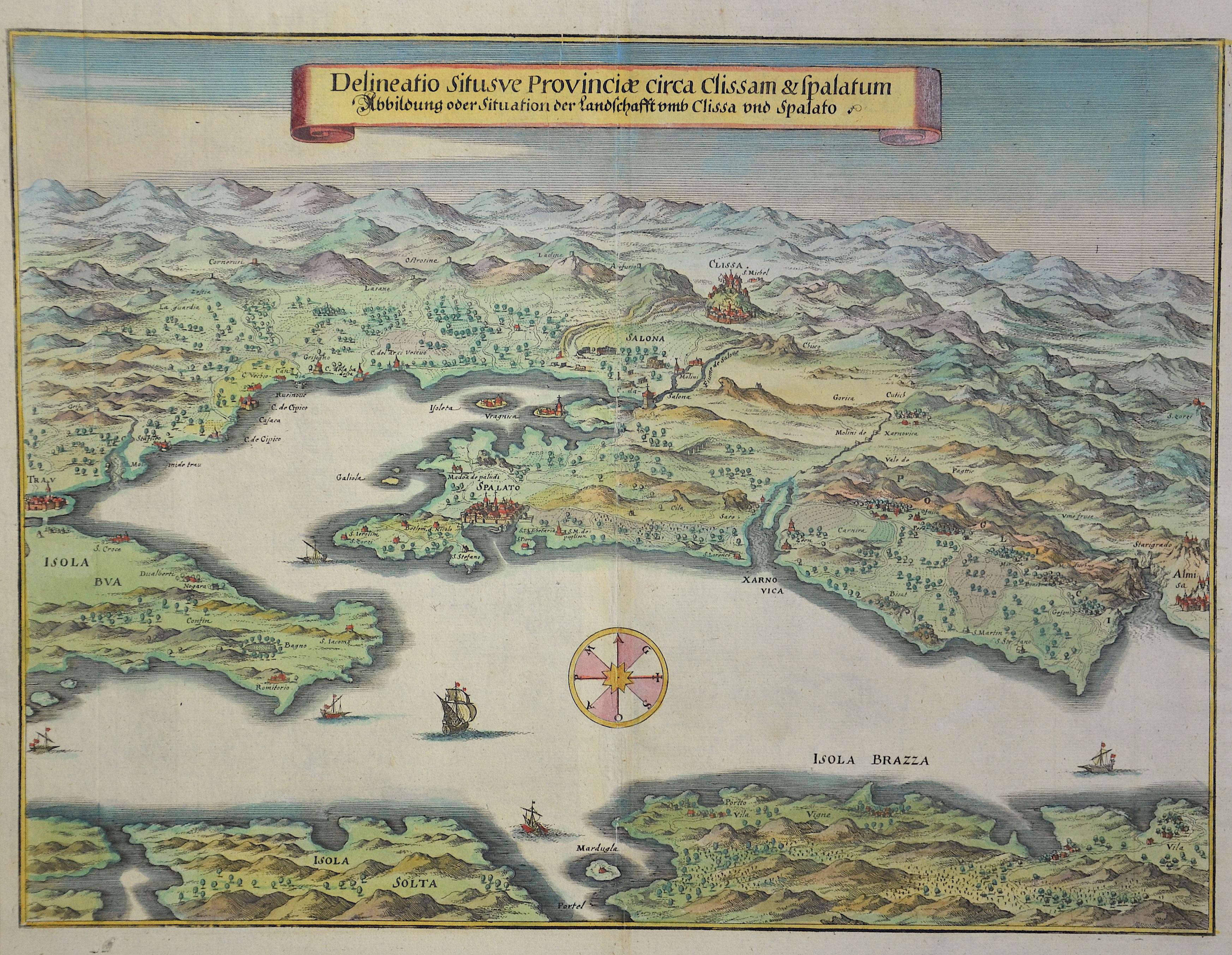 Merian  Delineation situsve Provinciae circa Clissam & Spalatum , Abbildung oder Situation der Landschafft umb Clissa und Spalato