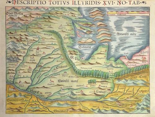 Ptolemy/Münster Sebastian Claudius Descriptio totius Illyrides XVI no tab