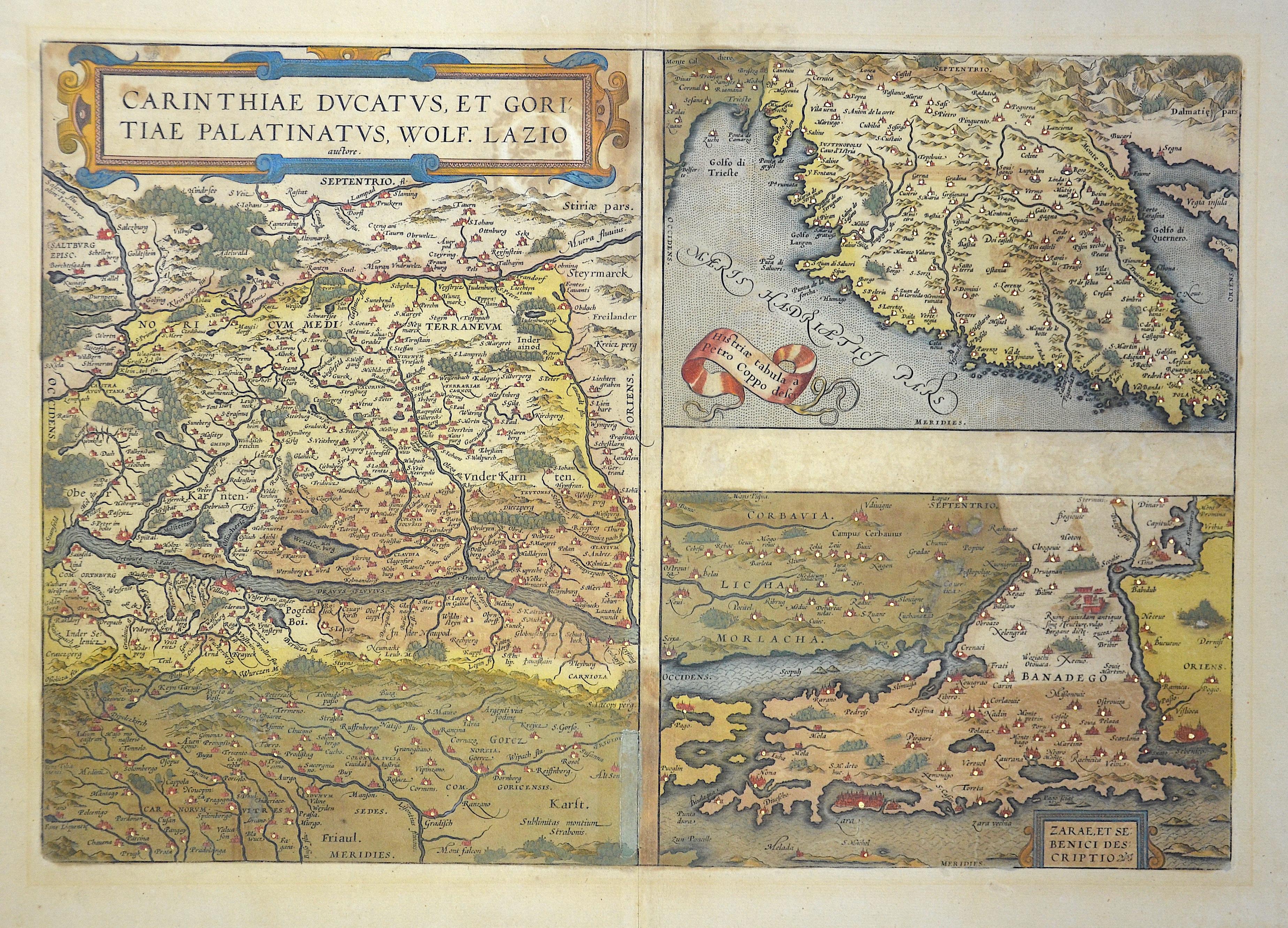 Ortelius  Carithiae ducatus, et Goritiae Platinatus…/ Histriae Tabula a Petro Coppu../ Zarae et Sebenici descriptio