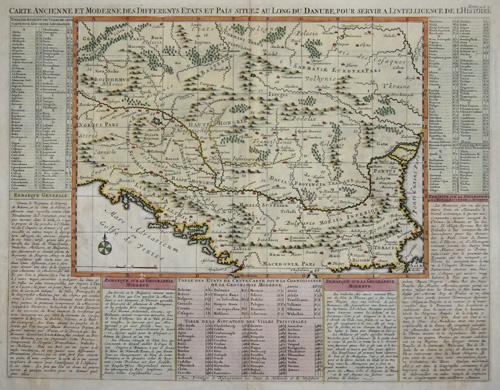 Chatelain Henri Abraham Carte ancienne et moderne des differents Etats et Pais situez au long du Danube pour servir a l ´intelligence de l ´Historie