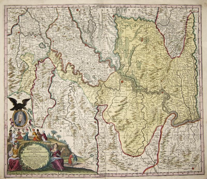 Seutter  Justissimae, Causae Heroica Virtute propuquatae gloriosiß: Triumphi Praemium. Sive Accurata delineatio Provinciarum et Urbium..