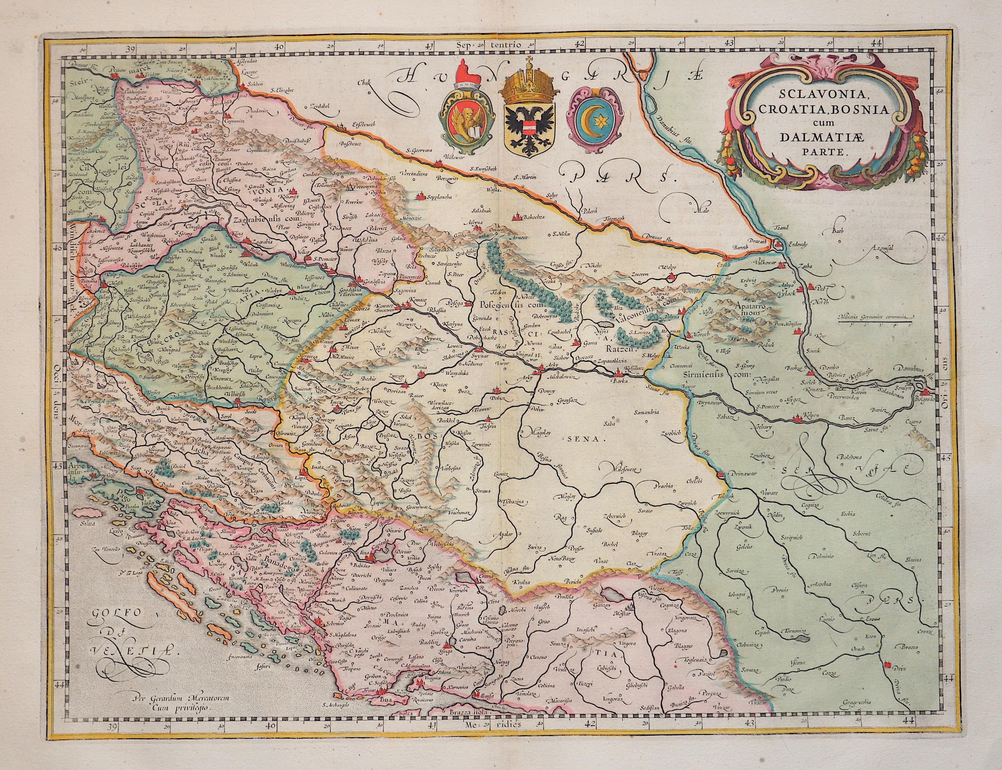 Janssonius/Mercator-Hondius, H.  Sclavonia, Croatia, Bosnia cum Dalmatiae Parte.