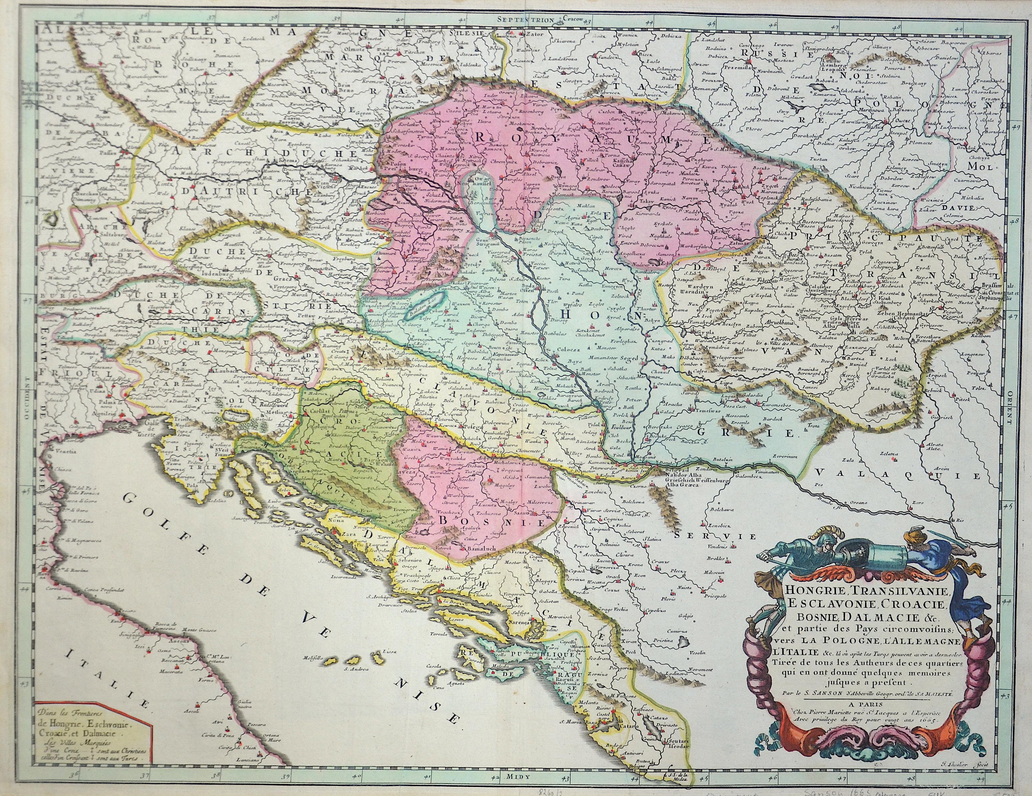 Sanson  Hongrie, Transilvanie, Esclavonie, Croacie, Bosnie,  Dalmacie ..