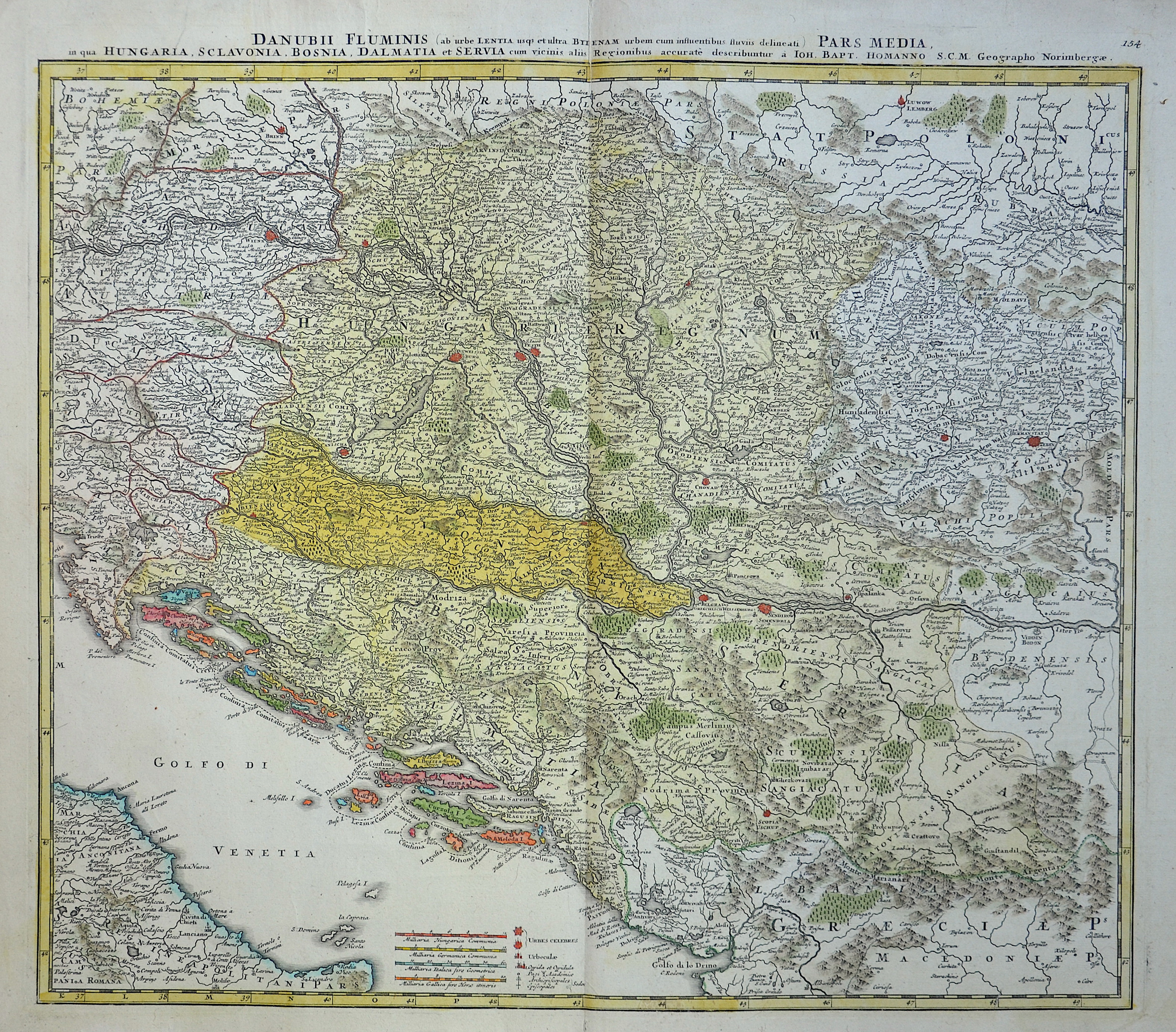 Homann  Danubii Fluminis pars media in qua Hungaria, Sclavonia, Bosnia, Dalmatia et Servia