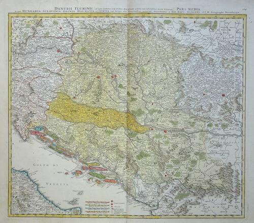 Homann Johann Babtiste Danubii Fluminis pars media in qua Hungaria, Sclavonia, Bosnia, Dalmatia et Servia