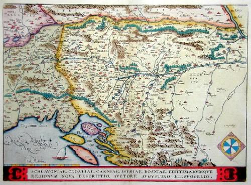 Ortelius Abraham Schlavoniae, Croatiae, Carniae, Istriae, Bosniae, Finitimarumque regionum nova descriptio, auctore Augustino Hirsvogelio