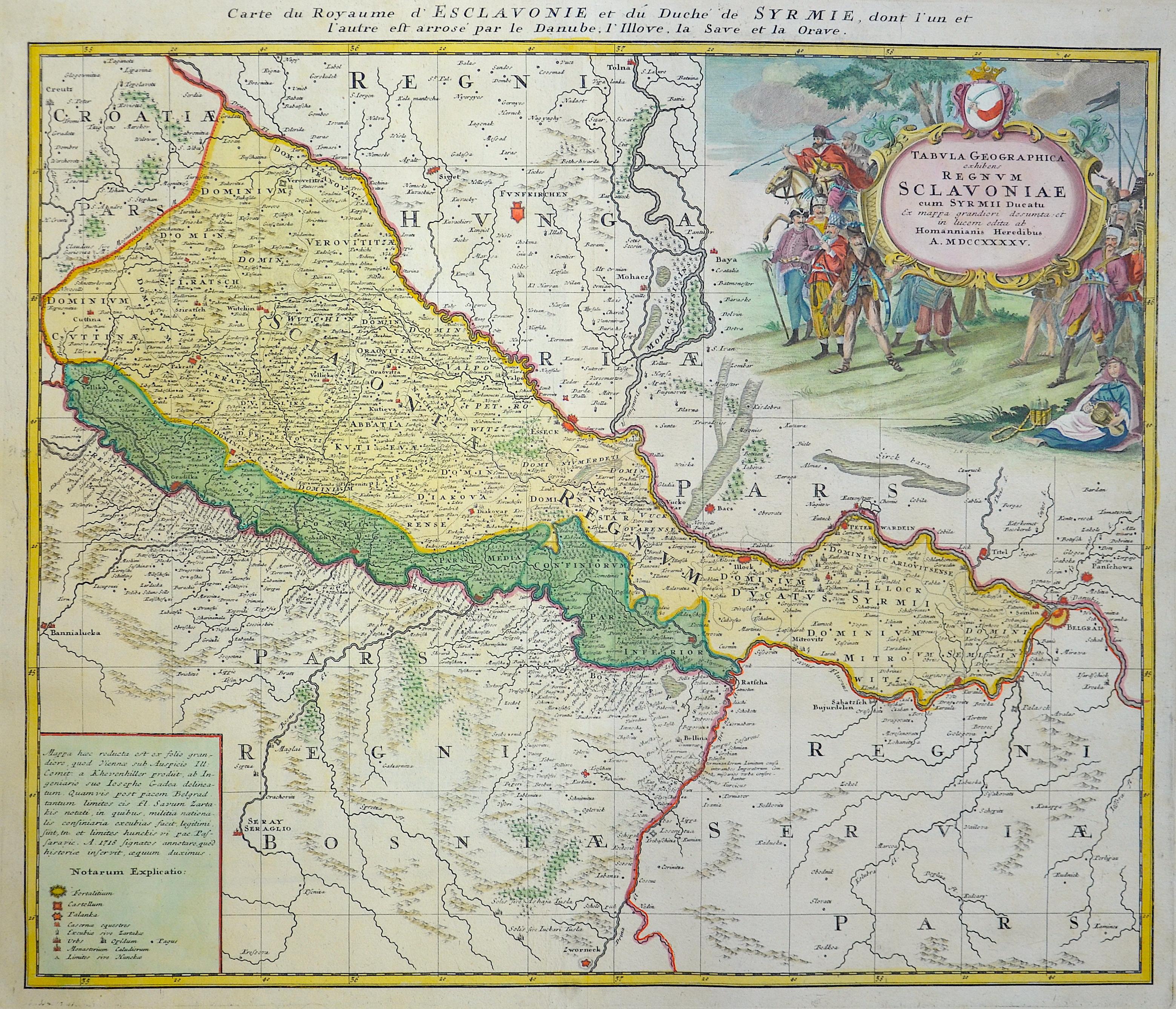 Homann Erben  Tabula geographica exhibens Regnum Sclavoniae cum sur mii ducatu..