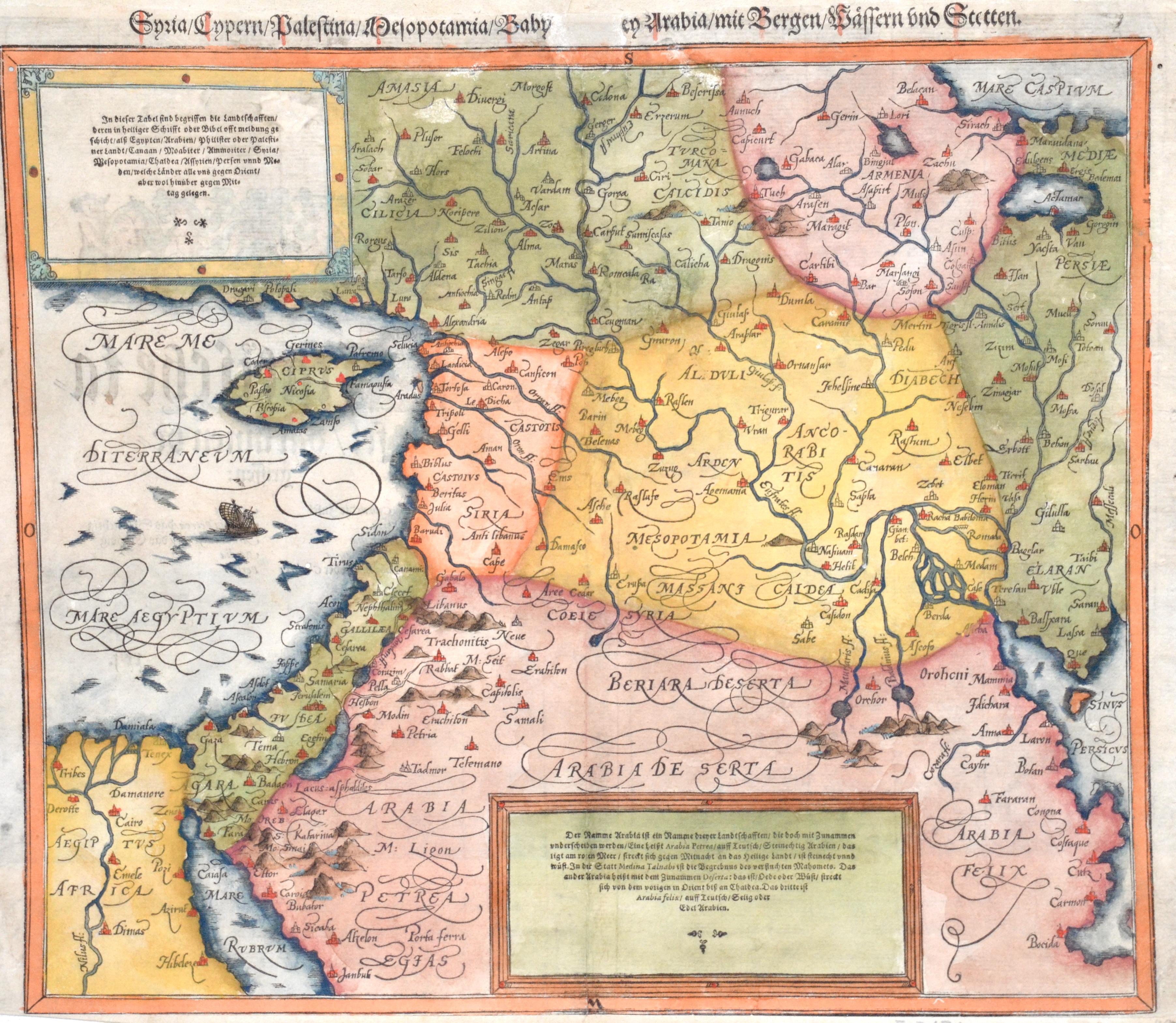 Münster  Syria/Cypern/Palestaina/Mesopotamia/Babilonia/Zwen Arabia/mit Bergen/Wesseren und Stetten