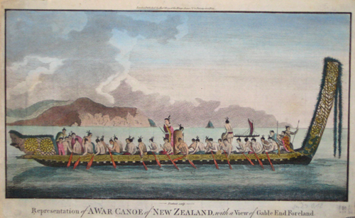 Hogg Alexander Representation of a war canoe of New Zealand, with a view of gable and foreland