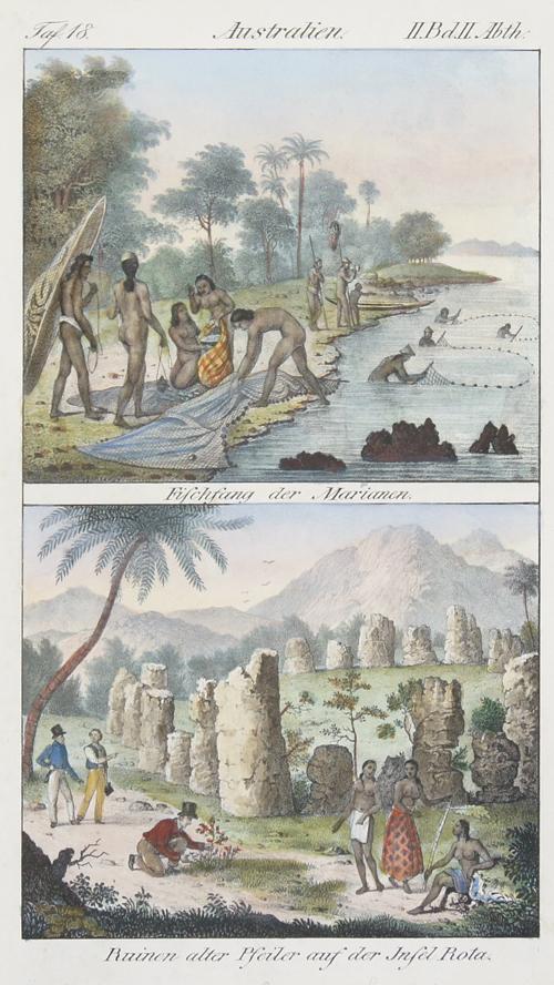 Anonymus  Australien. Fischfang der Marianen/ Ruinen alter Pfeiler auf der Insel Rota