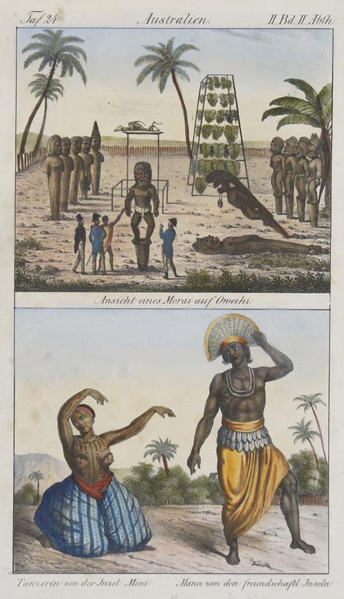 Anonymus  Australien. Ansicht eines Morai auf Oweihi/ Tänzerin von der Insel Movi, Mann von den freundschaftl. Inseln