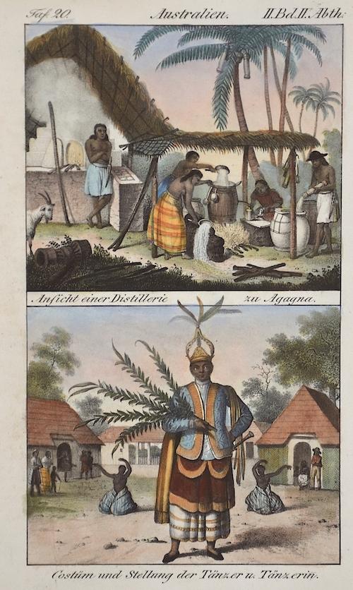 Anonymus  Australien. Ansicht einer Distillerie zu Agagna/ Costüm und Stellung der Tänzer u.Tänzerin