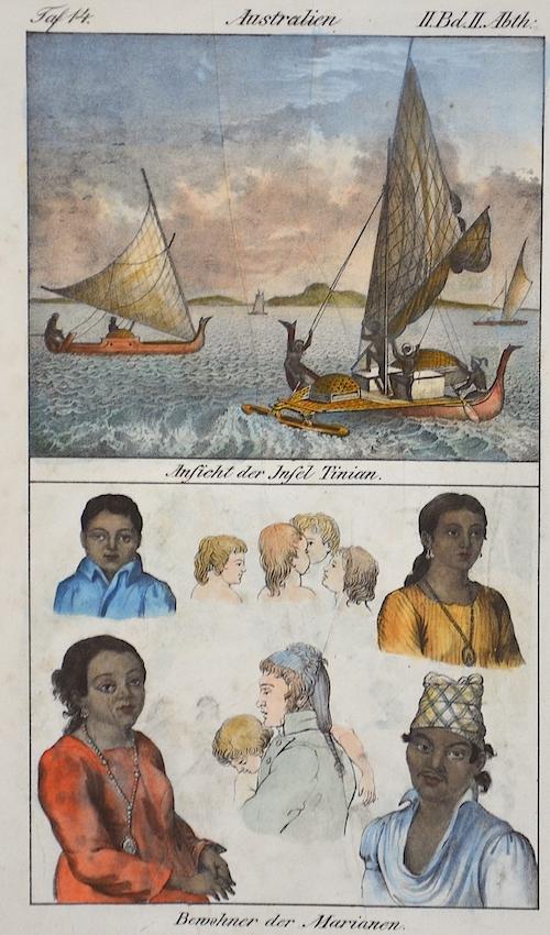 Anonymus  Australien. Ansicht der Insel Tininian. / Bewohner der Marianen