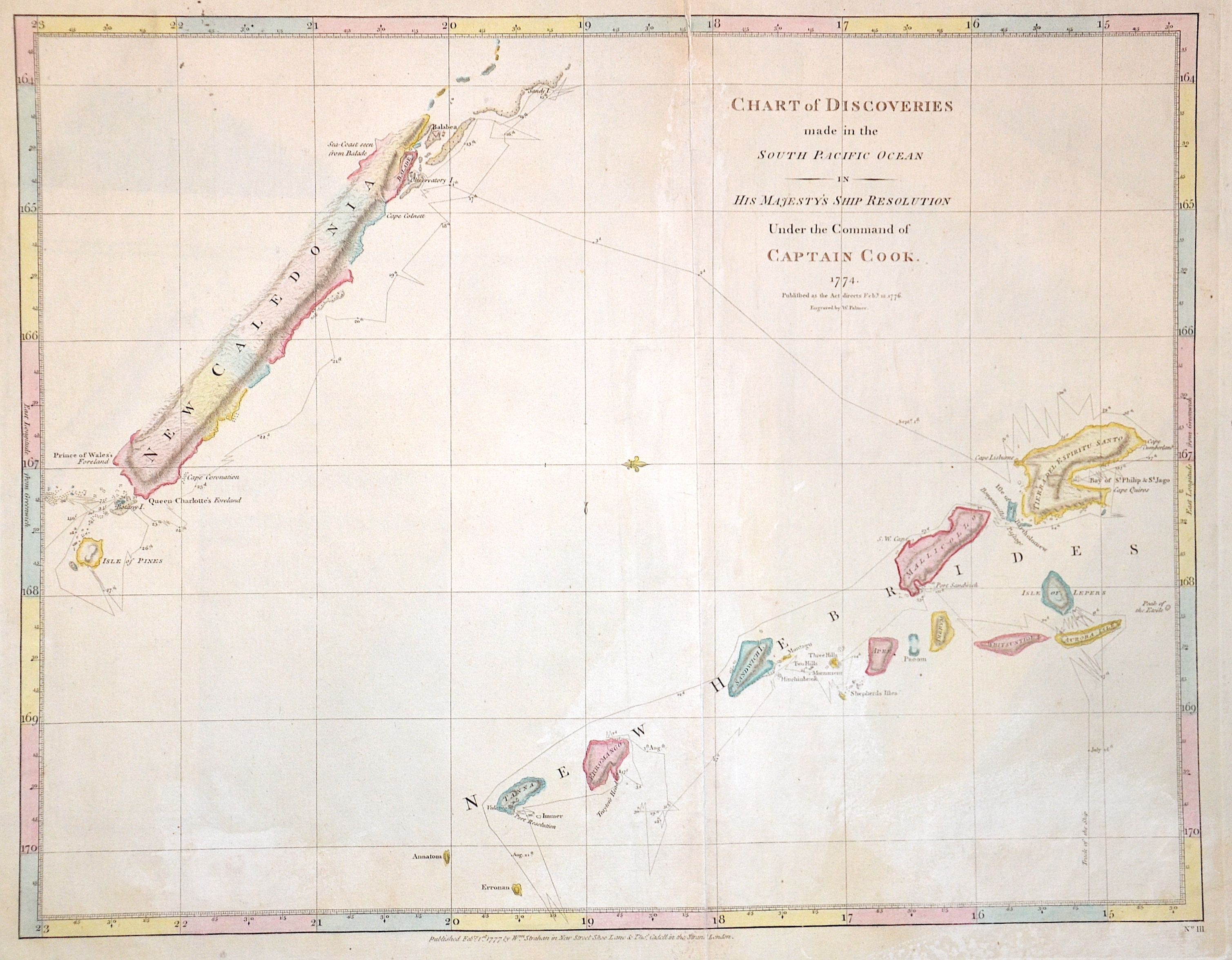 Palmer W. Chart of Discoveries made in the South Pacific Ocean in his Majesty's ship resolution Under the Command of Captain Cook. 1774.