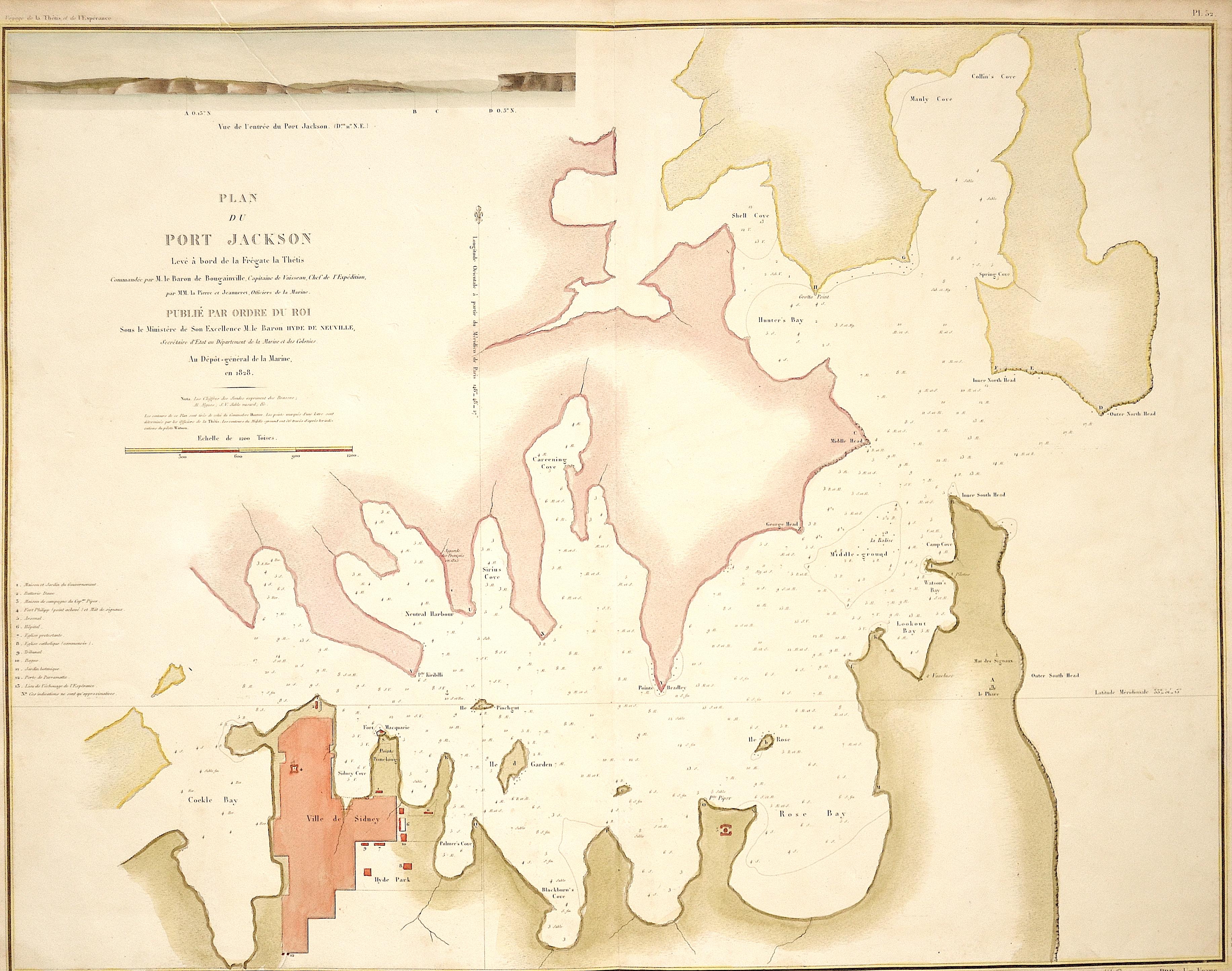 Tardieu Ambroise Plan du Port Jackson. Levé à bord de la Frégate la Thétis
