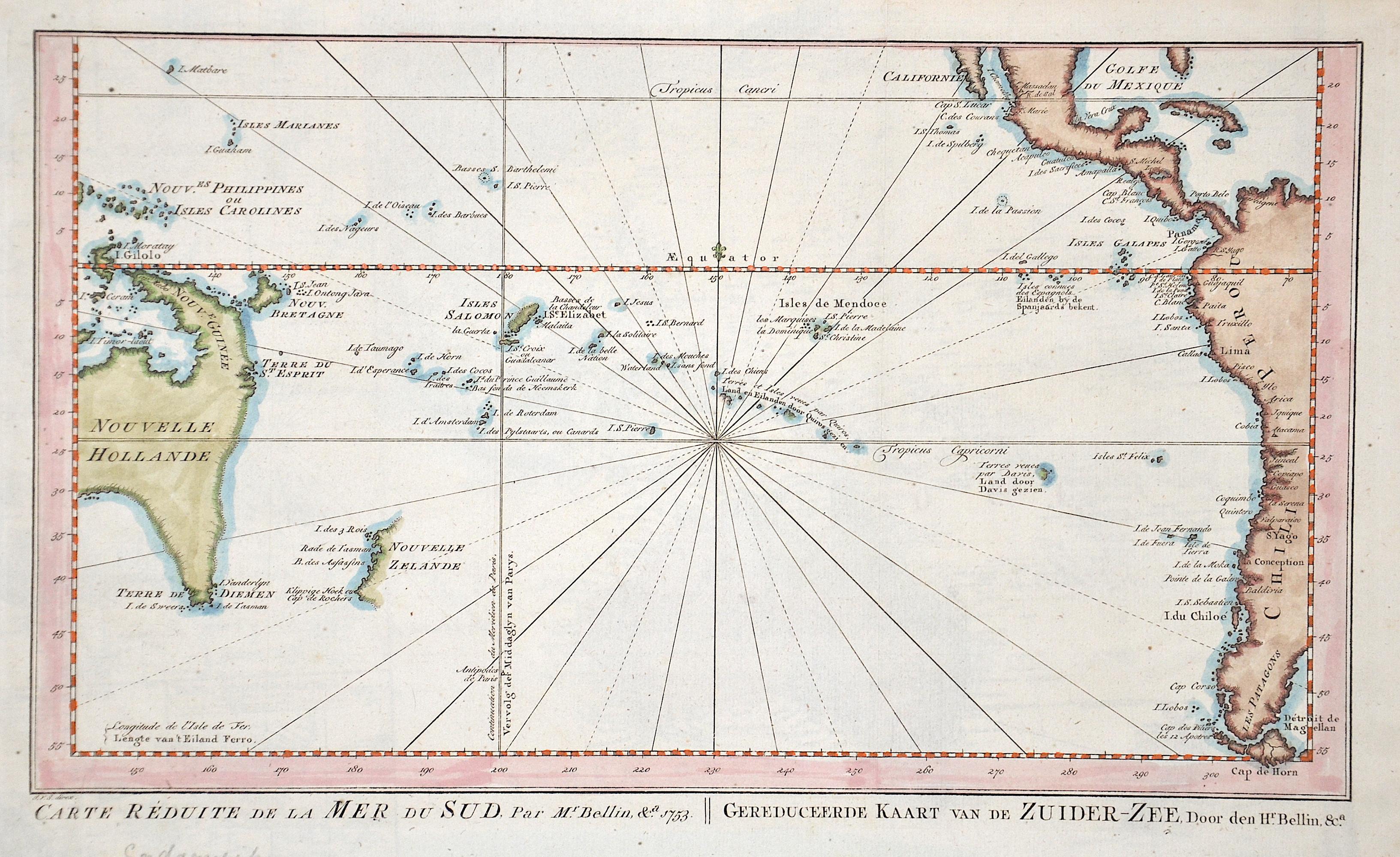 Bellin  Carte Reduite de la Mer du Sud, Par Mr. Bellin / Gereduceerde Kaart van de Zuider-Zee, Door den Hr. Bellin