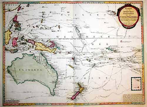 Reilly Franz Johann Joseph Karte von der Inselwelt Polynesien oder dem Fünften Welttheile