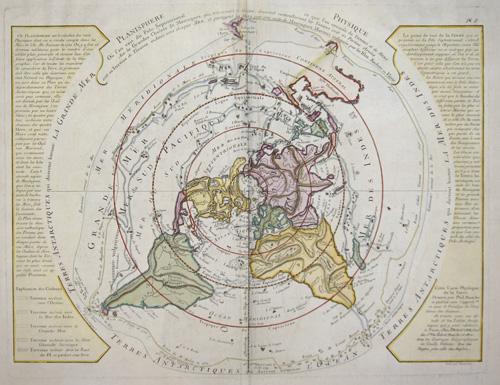 Dezauche/de l´Isle,  Planisphere Physique ou l ´on voit de Pole Septentrional