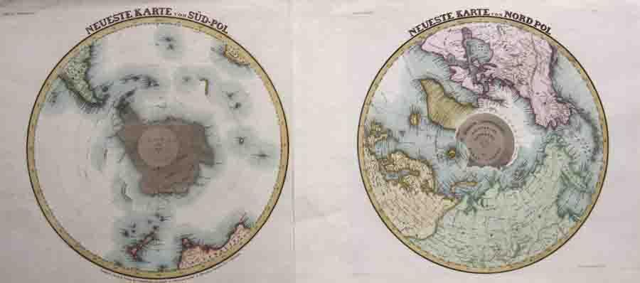 Meyer Carl Joseph Neueste Karte vom Süd-Pol / Neueste Karte vom Nord Pol