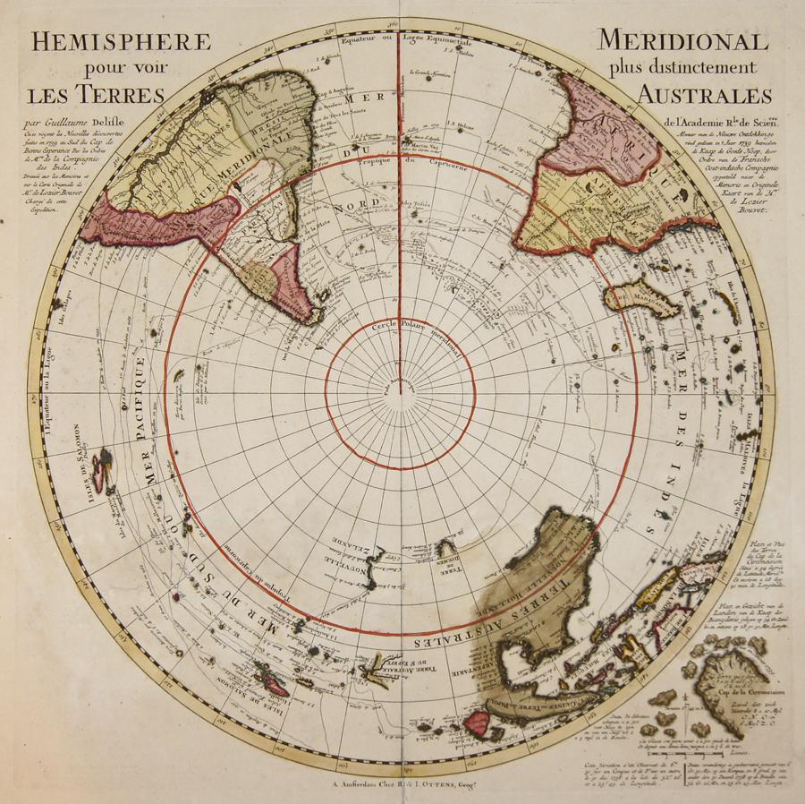 Ottens Josua und Renier Hemisphere Meridional pour voir plus distinctement les Terres Australes.