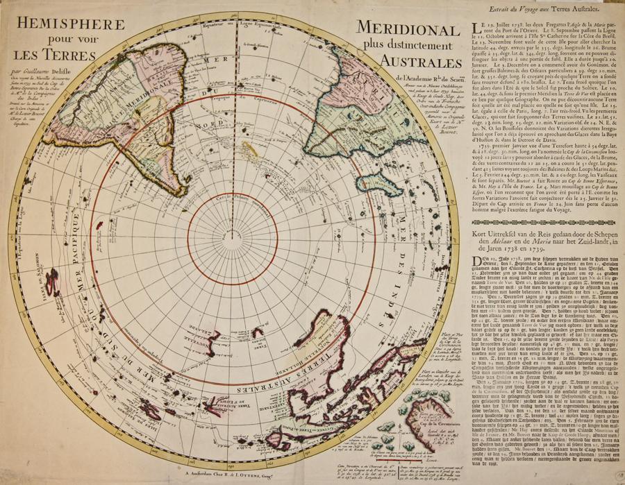 Ottens/ De L´Isle Josua und Renier Hemisphere Meridional pour voir plus distinctement les Terres Australes.