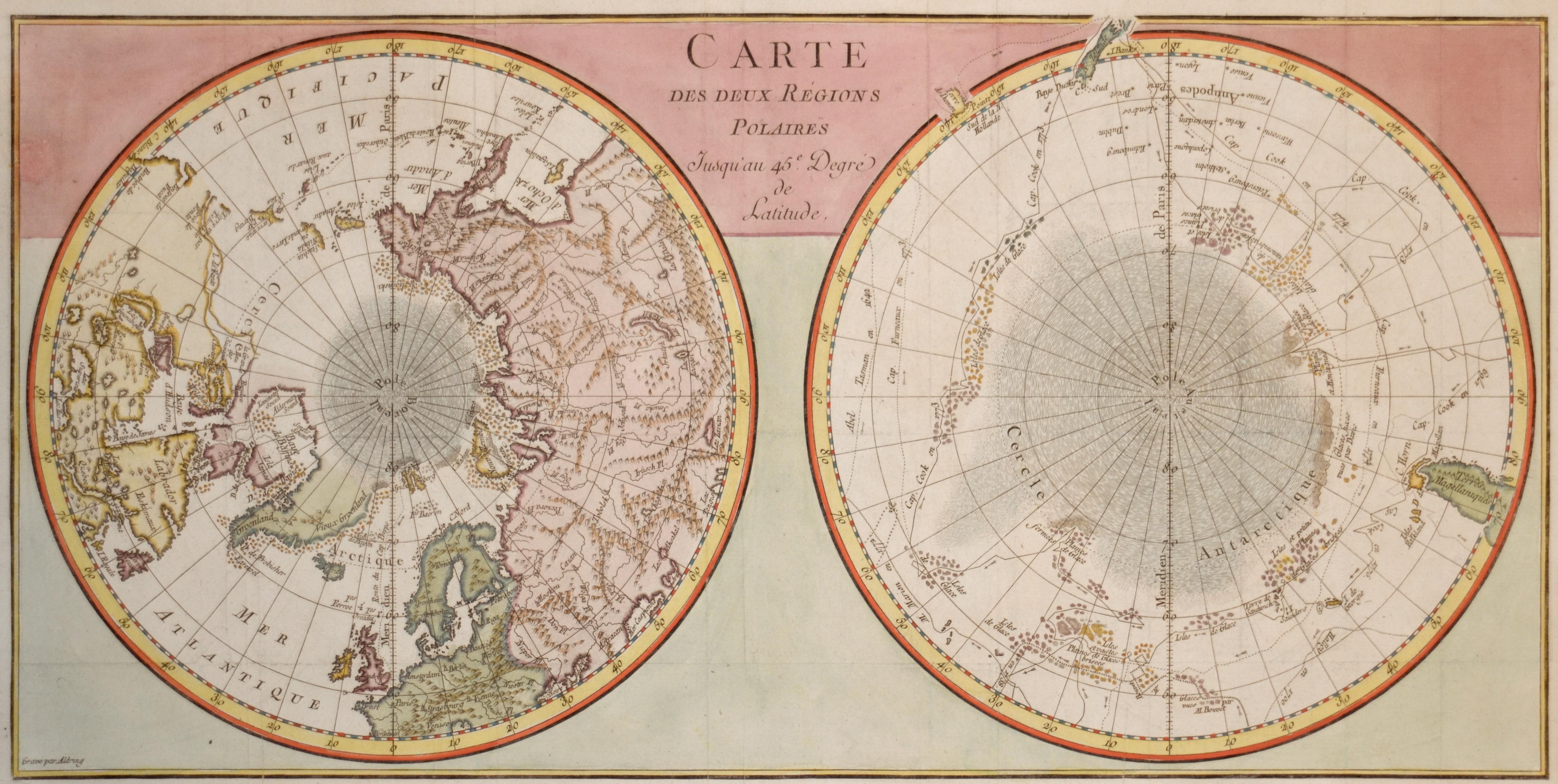 Aldring  Carte des deux Régions Polaires Jusquiau 45e. Degré de Latitude.