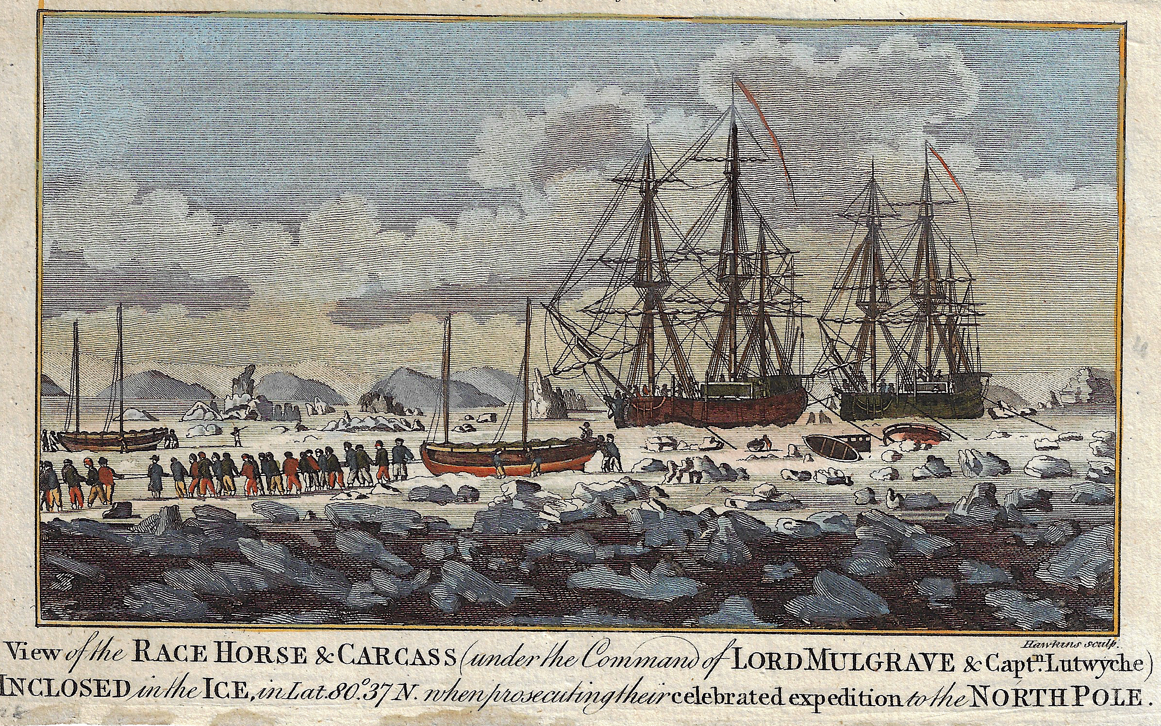 Hogg Alexander View of the Race Horse & Carcass (under the Command of Lord Mulgrave & Captn. Lutwyche) Inclosed in the Ice, ..