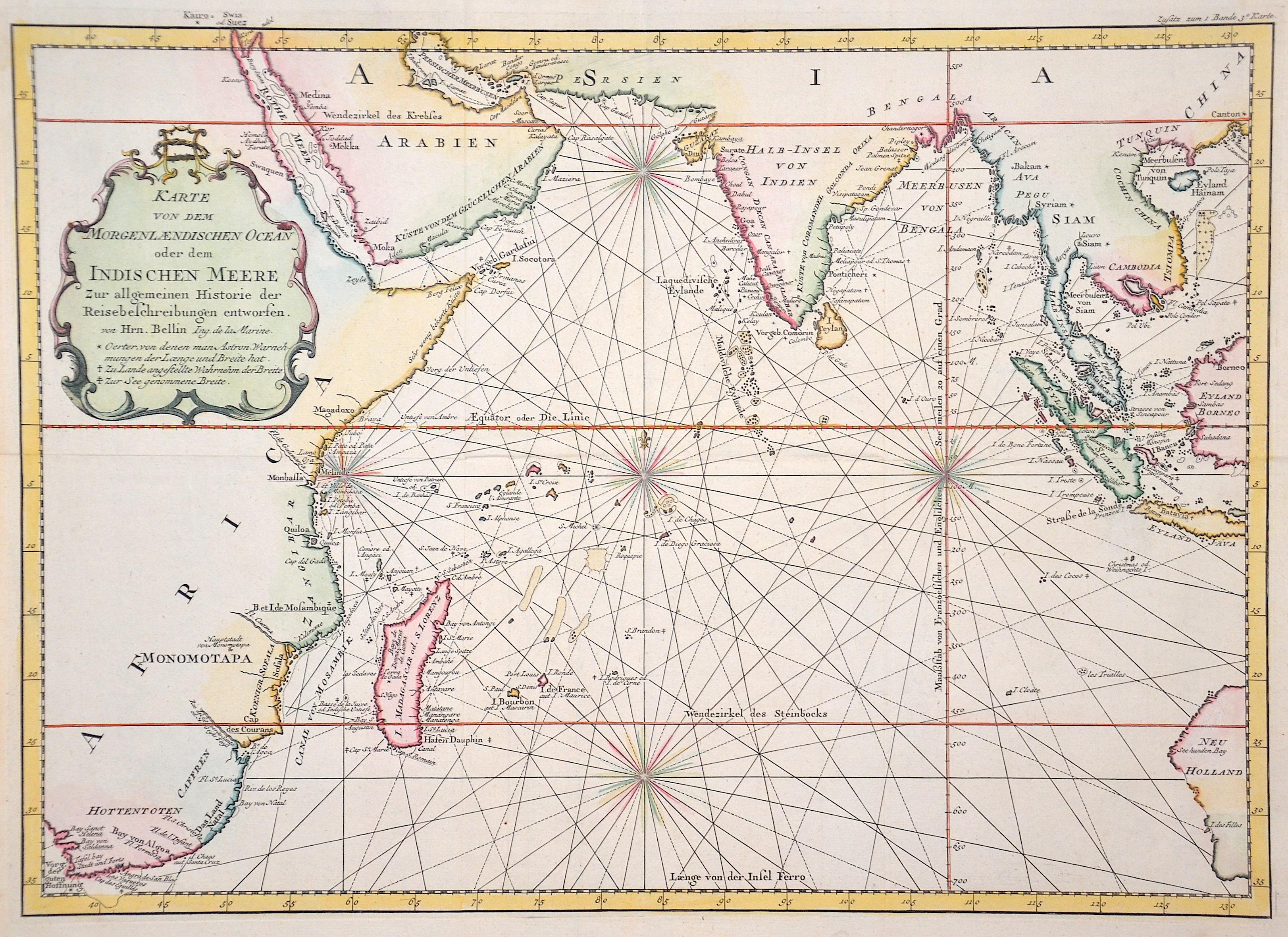Bellin  Karte von dem … Indischen Meer
