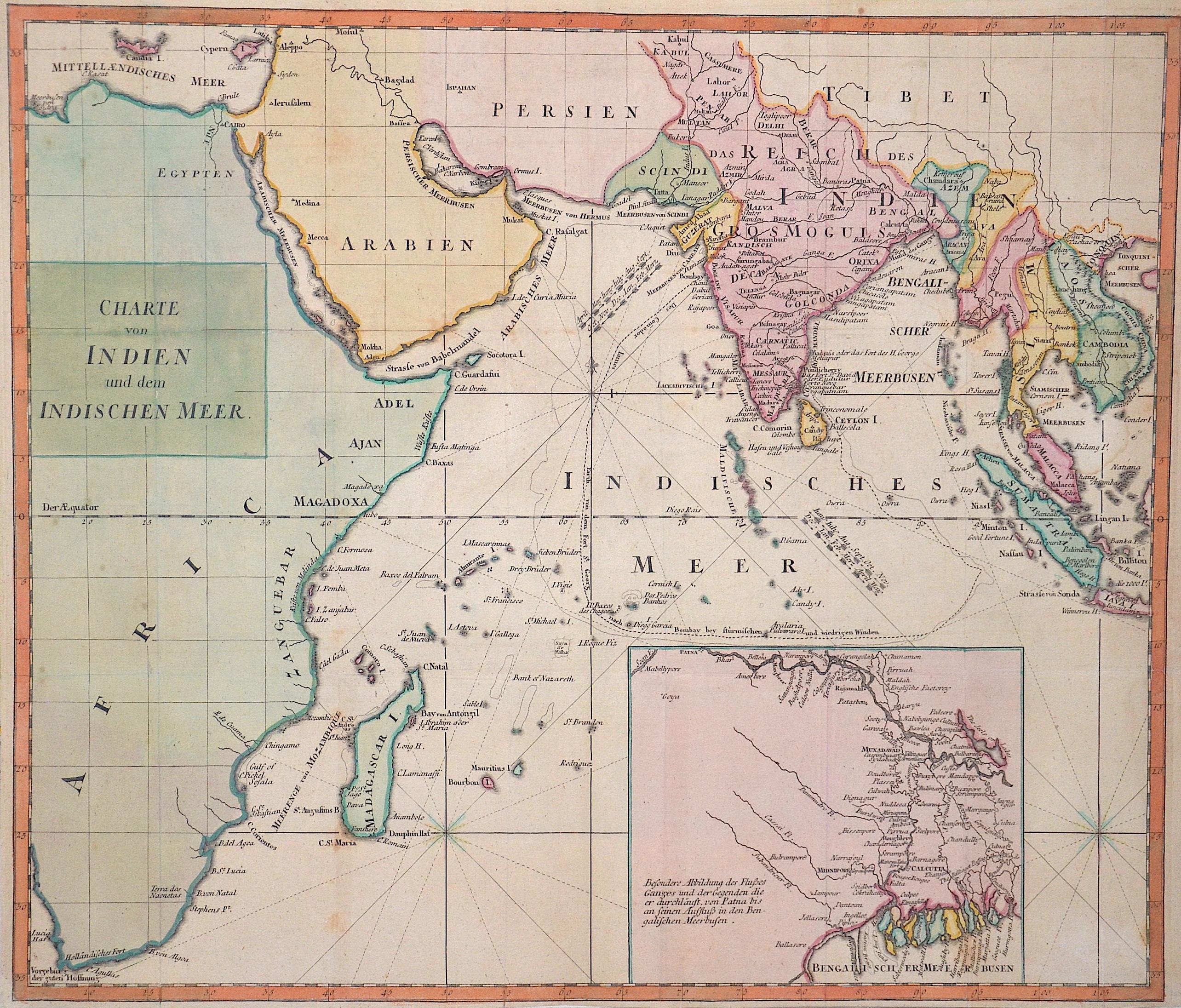 Anonymus  Charte von Indien und dem indischen Meer